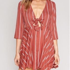 Amuse Society Let's Knot rust striped orange dress